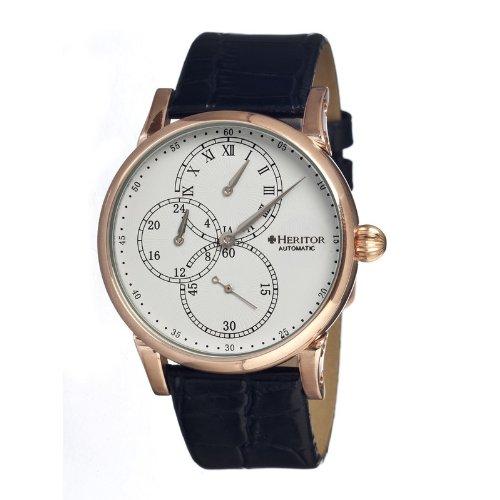 Heritor automatic HERHR1103–Montre-Bracelet en Cuir Noir, pour Homme