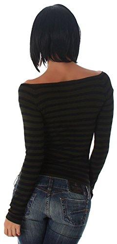 Jela London Damen Pullover langärmelig mit Streifen Einheitsgröße (32-36) Grün Schwarz