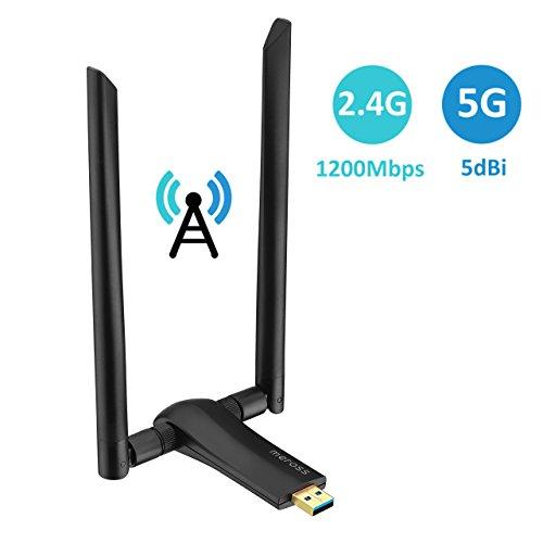 VicTsing 1200Mbps USB WiFi Adapter Dual Band 5GHz Drahtlose Netzwerkgeschwindigkeit 867Mbps, 2.4GHz 300Mbps; 2 x 5dBi Hoher Gewinn Antennen mit vergoldetem USB 3.0 Port, Idee für Windows 7/8 / 8.1 / 1