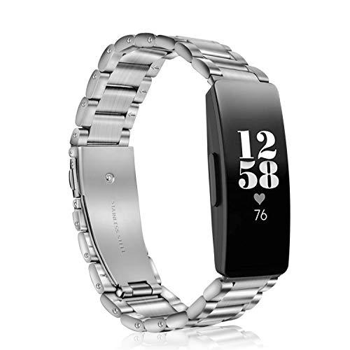 Fintie Armband kompatibel mit Fitbit Inspire/Fitbit Inspire HR Gesundheits- & Fitness Tracker - Edelstahl Metall Uhrenarmband Ersatzband mit Doppelt Faltschließe, (Silber) - Fitbit-armband Faltschließe