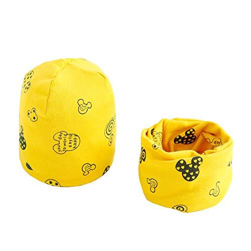 Boomly Baby Wintermütze Loop Schal Set Warm Weich Beanie Hüte Neckwarmer Schal-Kappen Für 0-8 Jahre alte Kinder (Gelb, 7 Monate-3 Jahre alt)