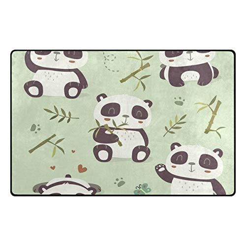 DEZIRO Cartoon Panda Bambus Fußmatten für Hauseingangs-Bereich Teppich Fußmatte Fußmatte Teppich Schuhe Schaber, rutschfest waschbar 60 x 39 inch 1