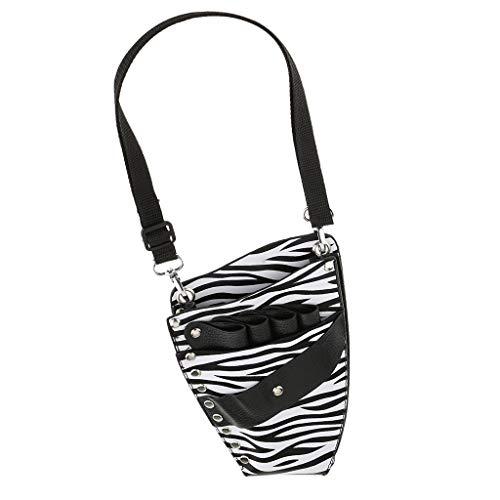 Zqstoryvi Mochilas Salon Barber PU Leather Scissor Holster Holster Bolso Estuche for Bolsas con cinturón de Hombro - Patrón de Cebra Excursionismo (Color : Black-White, Size : 15 * 7.5 * 4.5cm)