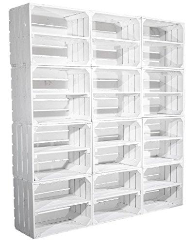 8er Set weiße Kiste für Schuhregal und Bücherregal - weißes Obstkistenregal - Regal aus...
