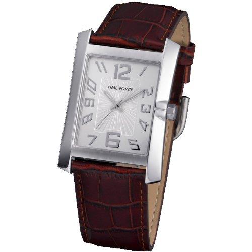Time Force TF-3322M05 Montre pour homme avec bracelet en cuir et cadran en acier Argenté