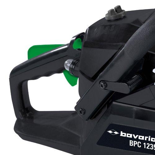 Bavaria BPC 1235 Benzin-Kettensäge, 1,2 kW/1,6 PS, 35cm Schwertlänge, inkl. Benzin-Öl-Mischflasche, Feile u. Schwertschutz -