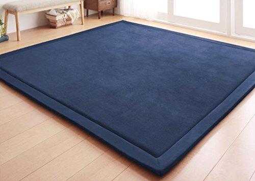 Teppiche FOO Kurzer Flor Rechteckige Rutschfeste Verdickung Komfortable Volltonfarbe zeitgenössischer Wohn- und Schlafbereich (Farbe : Navy blau, größe : 120 * 200cm) (Navy Zeitgenössische Teppich)