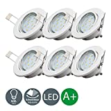 Set of 6 LED recessed ceiling lights I LED downlights I pivotable and rotatable I fitted light I warm white I metal I white metal look I 6 x 3 W LED modules I 230 V I GU10 I IP23