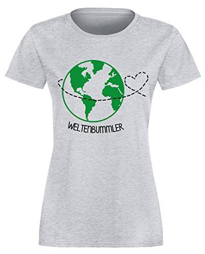 Weltenbummler - Perfekt für Ihren Urlaub - Damen Rundhals T-Shirt Grau/ Schwarz-