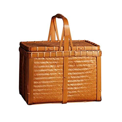 ZXL Kreative Vintage Handgemachte Bambus Picknickkörbe Reise Tragbare Aufbewahrungsbox Japanischen Teebeutel Handtasche Korb Doppel Picknickkörbe (Farbe: Braun, Größe: 11,81 * 8,85 * 13,38 Zoll)