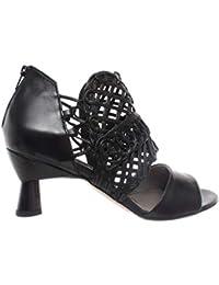 aa26c3d4417 Zapatos Mujer Tacon Sandalias iXOS Sandalo Silene Negro Zip Piel Made In  Italy