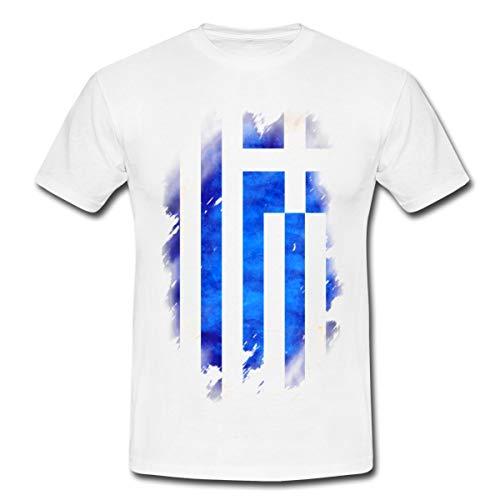 Spreadshirt Griechenland Flagge Fahne Männer T-Shirt, M, Weiß