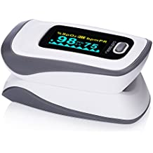 MeasuPro Instant Read Digital Fingertip Pulse Oximeter, Oxygen Sensor and Pulse Rate Monitor with Alarm Setting, Color OLED Display and Carry Case, CE