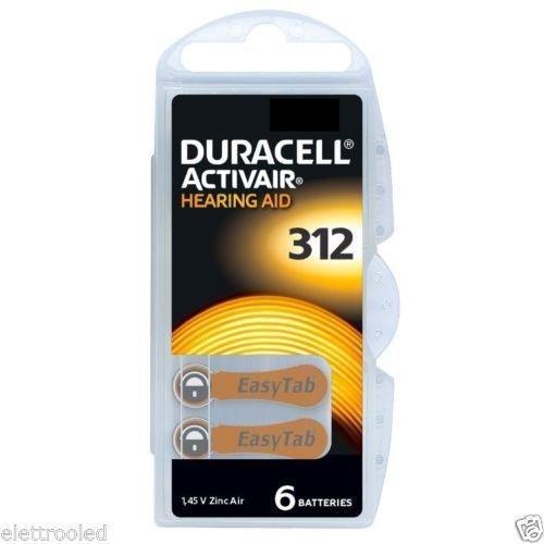 Duracell Activair Hörgeräte Batterien 1,4V 180mAh PR41 Typ 312 - 6er Blister (TYP 312 6er Pack, 10x)