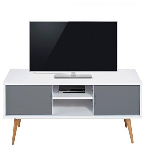 ACTUAL DIFFUSION 9314BG Vintage Meuble TV avec 2 Portes/4 Pieds Bois 40 x 120 x 50 cm