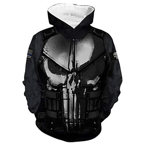 Alaeo Unisex Kapuzenpullover 3D Digitaldruck Marvel Movie Punisher Kapuzenpullover Cosplay Kostüm Oberbekleidung Jacke Baseball Pullover für Herren Damen,Black2,S (Der Punisher Cosplay Kostüm)