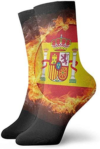 MEnjoy Flaming Spain Flag Balón fútbol Unisex Calcetines