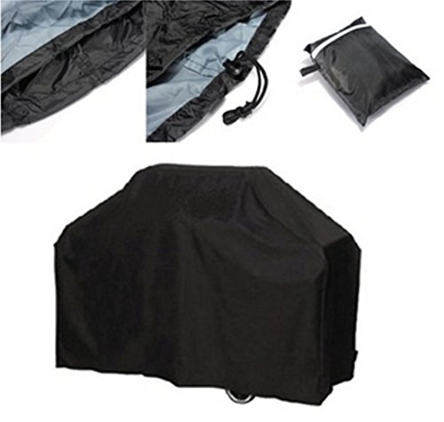 DIKETE® Big Fitted BBQ Cover, Heavy Duty Outdoor Rainproof Dustproof UV Protection Barbecue Grill Cover, Garden Patio Grill Protector, 117 x 170 x 61cm / 46 x 67 x 24 Inch + Storage Bag Black (L)