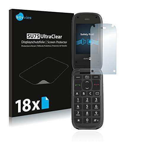 Savvies Schutzfolie kompatibel mit Doro PhoneEasy 613 (18 Stück) - ultraklare Bildschirmschutz-Folie
