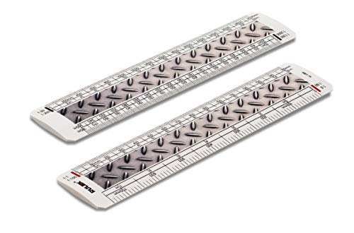 Flach-oval-design (Rulex 15 cm flach oval Metrisches Metall Textur Design Maßstab Lineal 1:1 1:100 1:5 1:50/1:20 1:200 1:1250 1:2500)