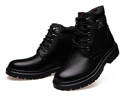 Hommes En Plein Air Bottes Décontractées 2017 Automne Hiver Nouveau Coton Chaussures Top Qualité Cuir Velours Chaussures En Cuir Plus Chaud Bottes De Neige Noir