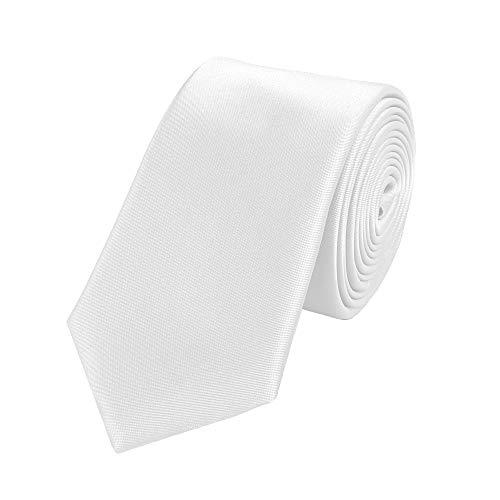 Fabio Farini klassische 6 cm Krawatte, für jeden Anlass in weiß