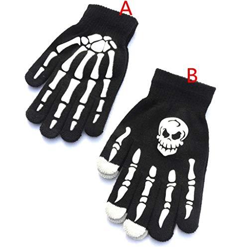 (Kaiki Rutschfest Schreiben Skelett Geisterklauen Druck Handschuhe Herren Jugend Winter Warme Sport Handschuhe (Größe,A))