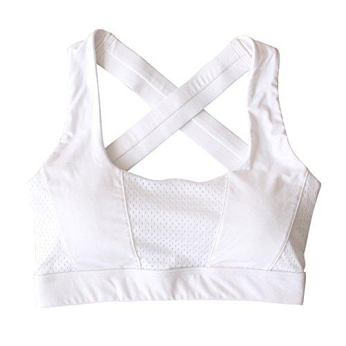 Yalatan o Steel Ring Cross Breast Bra Fitness Yoga Running Sports Underwear White