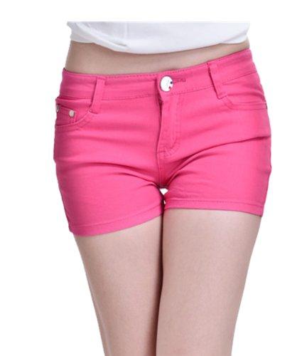 Zll OE Short court pour femme en jeans Skinny Rouge - Rose rouge