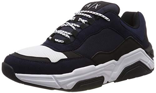 Armani Exchange Herren Microsuede lace up Sneaker, Mehrfarbig (Navy + Black + White C929), 44 EU
