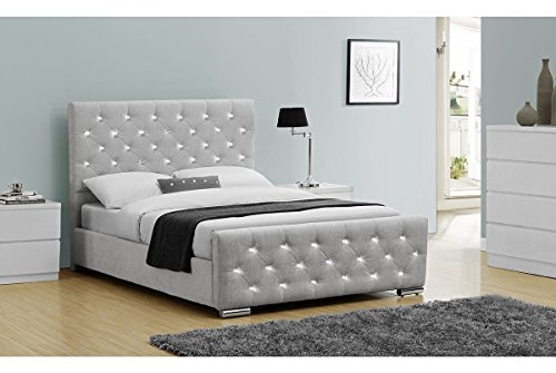 65526586368 Beaumont Luxury Upholstered Diamante Grey Fabric or Crushed Velvet Bed  Frame Black Gold Silver Double or King Size