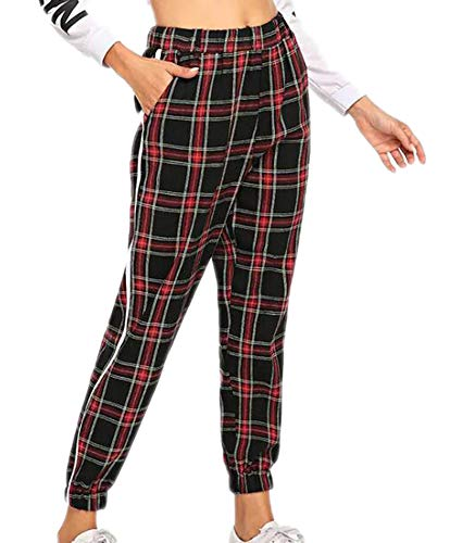 (Domorebest Womens Plaid Pencil Pants Casual neun Hosen)