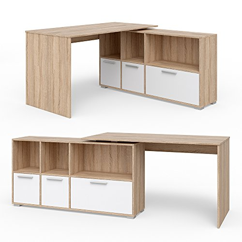 VICCO Eckschreibtisch 136 x 75 cm Weiß / Eiche Sonoma - Schreibtisch Arbeitstisch Winkelschreibtisch Bürotisch (Sonoma Eiche Weiß) (Eiche Büro-tisch)