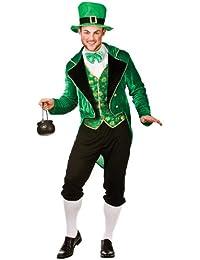Mens Deluxe Lucky Leprechaun St Patricks Fancy Dress Costume