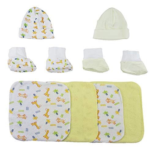 Two Rib Knit Infant Caps and Booties Sets and Four Washcloths - 8 Pc Set - Newborn -