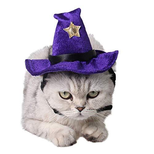 ANIAC Pet Halloween verstellbar Magic Hexe Hat mit Glocke Star Decor für Katzen und Kleine Hunde, lila