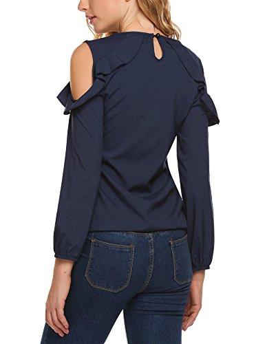 HOTOUCH Damen Langarm Carmenbluse T-Shirt Off-Schulter Oberteil mit Volant Typ1_Navyblau