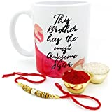 Hot Muggs Rakhi Gift - This Brother Has Most Awesome Sister Ceramic Mug, Rakhi