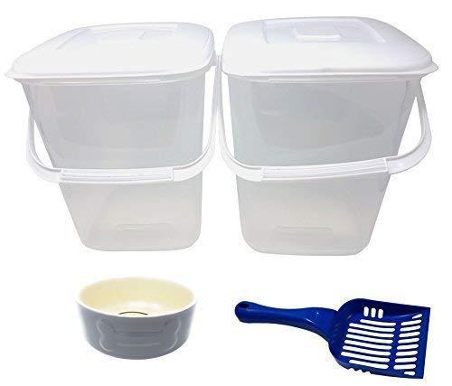 4 X Pce Animal de Compagnie Kit PLASTIQUE Rangement Nourriture Tubes Bleu Cuillère Gris Porcelaine Patte Bol de Chien