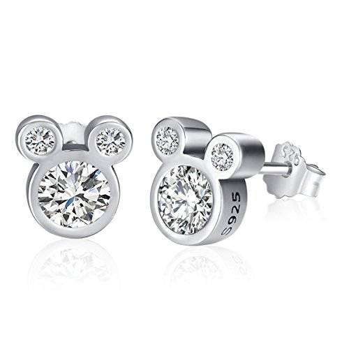 """Twenty Plus® Pendientes Mujer Deslumbrantes Diseños de Mickey Mouse del """"Mundo Disney"""" con Cristales Brillantes Blancos, Para Regalo del Día de las Madres, San Valentín, Cumpleaños Originales"""