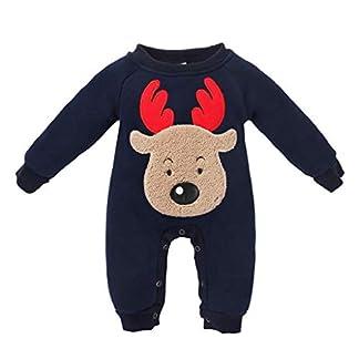 QUICKLYLY Navidad Peleles Pijamas Conjunto Bebé Niño Niña Recién Infantil Elk Largo Manga Mono Ropa
