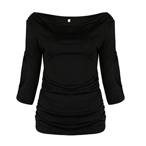 Femme solide TOPS Jaminy pour femme Pull décontracté Jersey Tunique TOPS noir