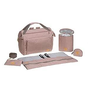 LÄSSIG Baby Zwillingstasche Wickeltasche Babytasche mit Rucksackfunktion inkl. Wickelzubehör/Goldie Twin Bag, rose