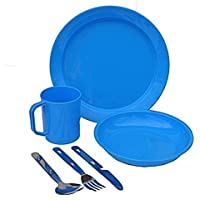 1 Person Camping Picnic Dining Set Plate Mug Bowl and Cutlery Blue Plastic