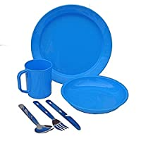 1 Person Camping Picnic Dining Set Plate Mug Bowl and Cutlery Blue Plastic 1