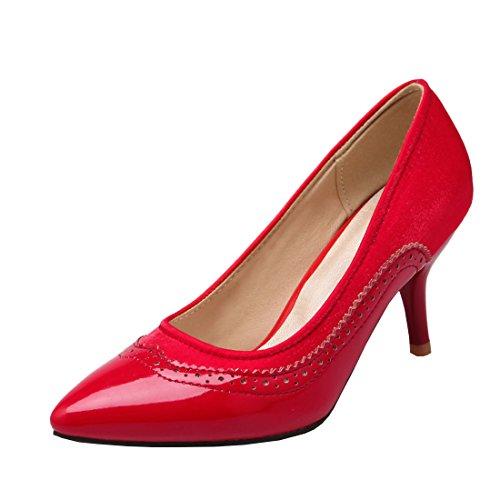 4d41e8109439bd Agodor Damen Pointed Toe High Heels Pumps mit Stiletto 7cm Absatz und Spitze  Satin Retro Elegant