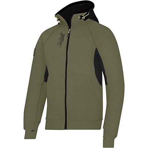 Snickers Workwear, Felpa con logo, con cappuccio e cerniera, taglia L, 2816 oliva-nero