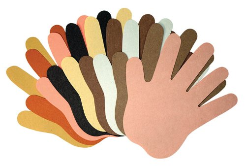 Hände Papier verschiedenen Hautfarben