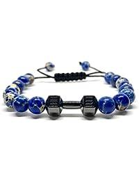 GOOD.designs shamballa-bracelet de perles pour femme et homme, haltère-pendentif, Pierre de protection sédiments Jaspe - Perle de 8mm culturisme musculation