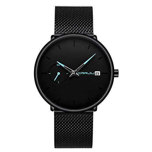 Reloj Hombre de Pulsera analógico de Cuarzo Minimalista con Fecha y Correa de Malla milanesa de Acero...